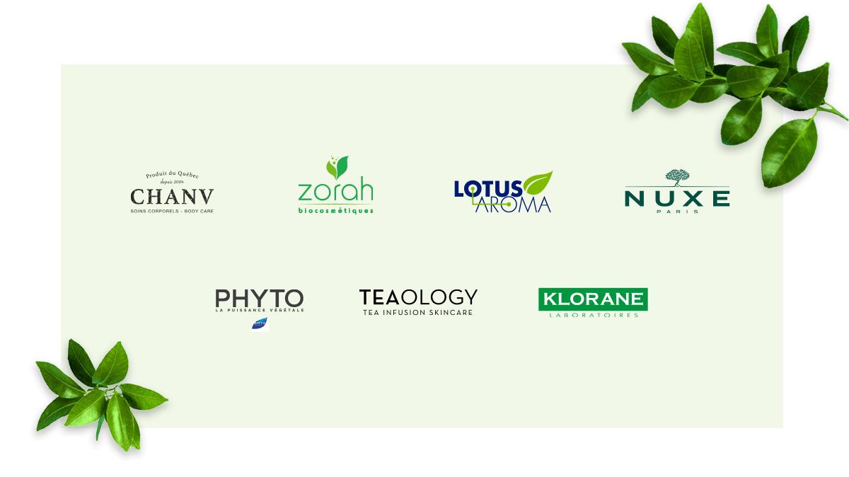 Nos marques éthiques - Chanv - Zorah - Lotus Aroma - Nuxe Paris - Phyto - Teaology - Klorane Laboratoires