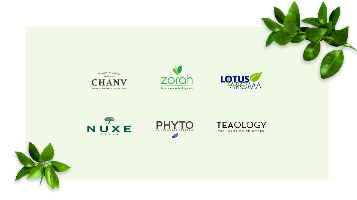Nos marques éthiques - Chanv - Zorah - Lotus Aroma - Nuxe Paris - Phyto - Teaology - Emeu Charlevoix