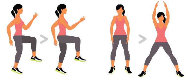 Equipment-free training - Aerobic exercises - Running on the spot - Jumping jacks