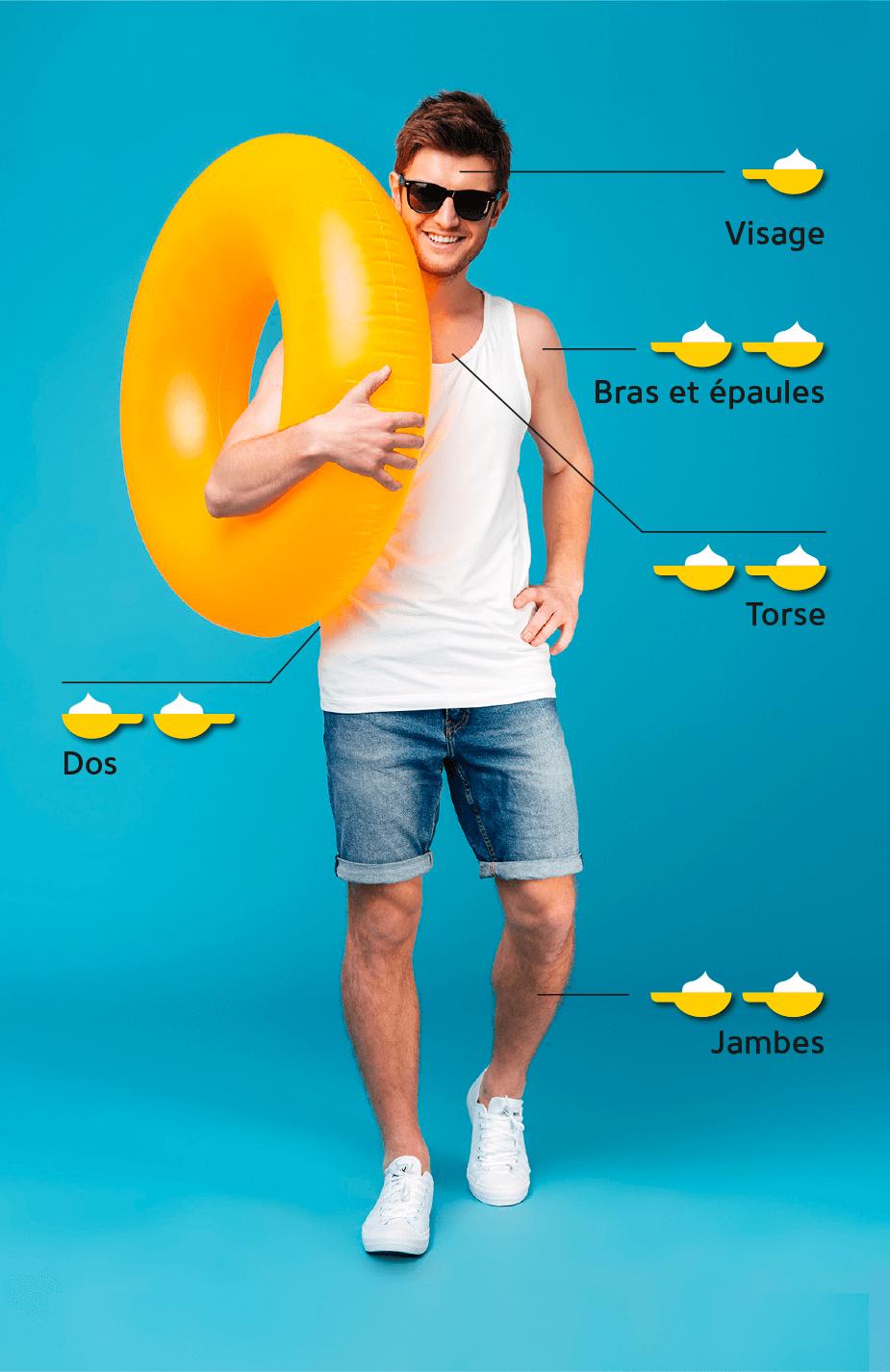 Application de crème solaire pour les adultes