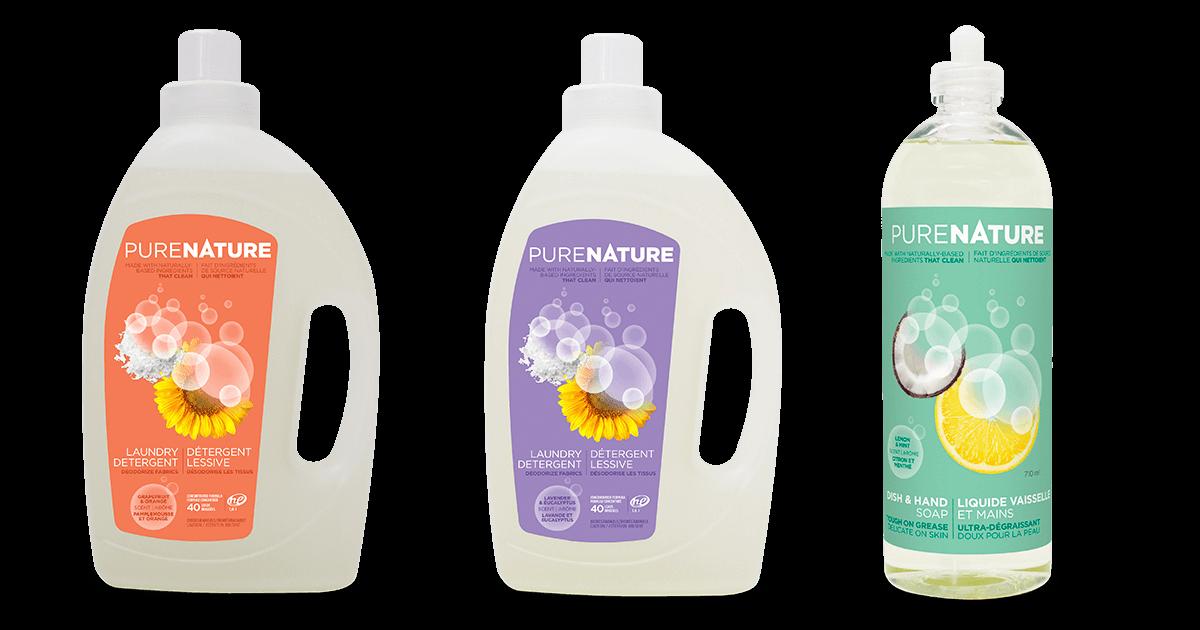 Détergeant à lessive, liquide à vaisselle et mains