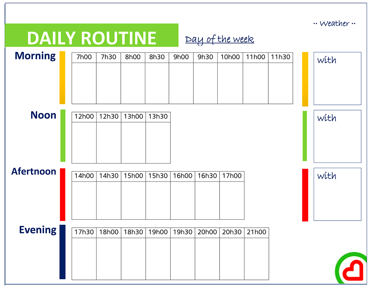 Daily routine with time slots